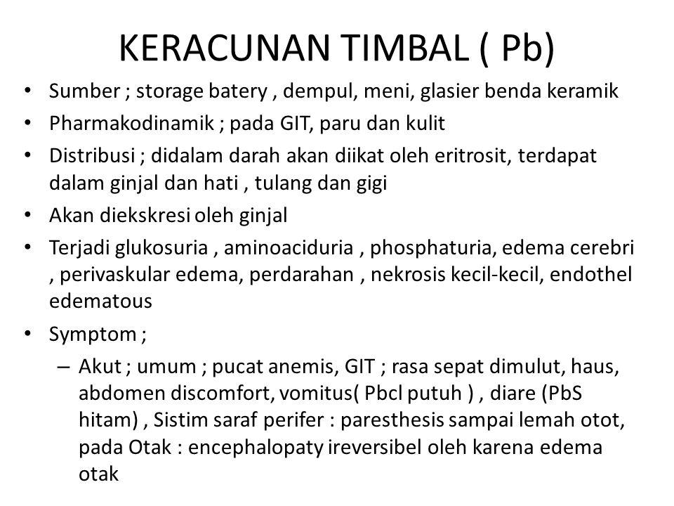 KERACUNAN TIMBAL ( Pb) Sumber ; storage batery , dempul, meni, glasier benda keramik. Pharmakodinamik ; pada GIT, paru dan kulit.