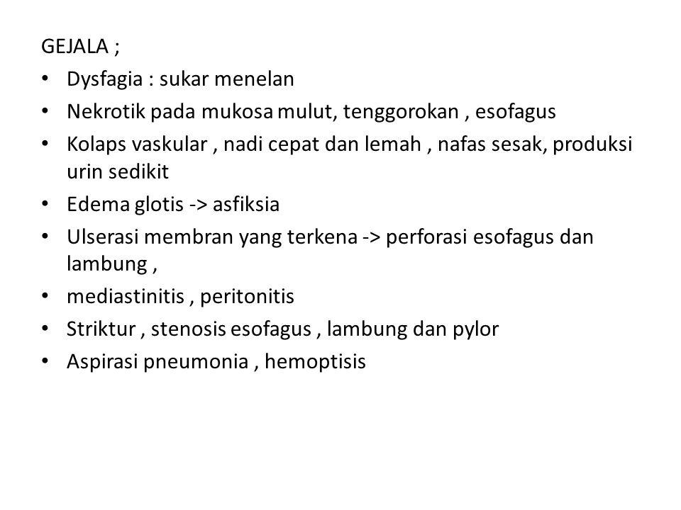 GEJALA ; Dysfagia : sukar menelan. Nekrotik pada mukosa mulut, tenggorokan , esofagus.