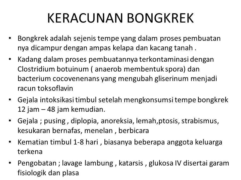 KERACUNAN BONGKREK Bongkrek adalah sejenis tempe yang dalam proses pembuatan nya dicampur dengan ampas kelapa dan kacang tanah .