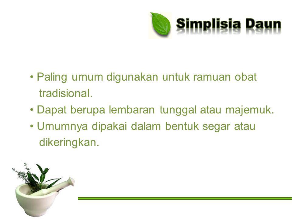 Simplisia Daun Paling umum digunakan untuk ramuan obat tradisional.
