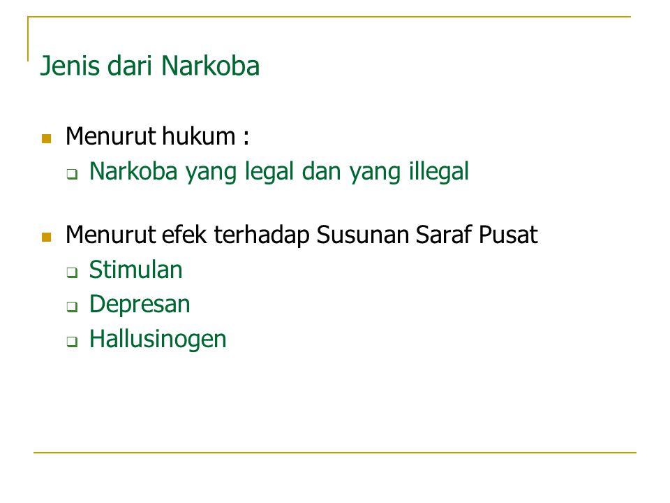 Jenis dari Narkoba Menurut hukum : Narkoba yang legal dan yang illegal