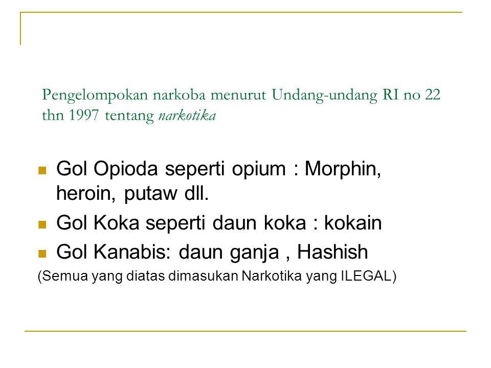 Gol Opioda seperti opium : Morphin, heroin, putaw dll.
