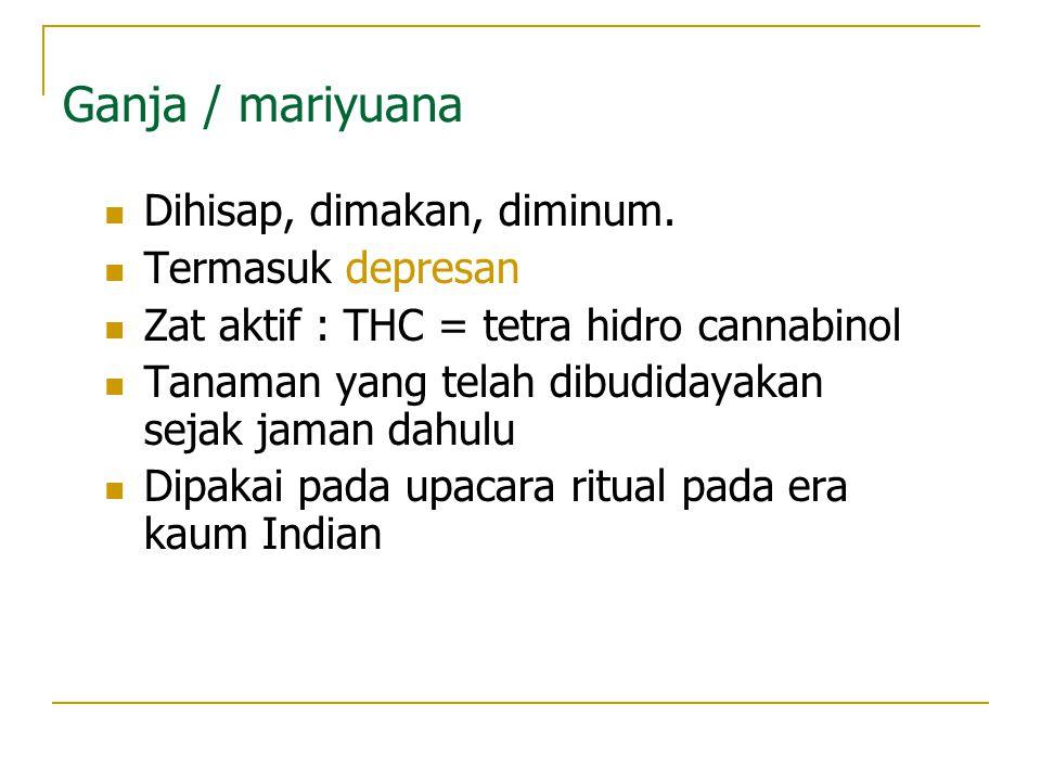 Ganja / mariyuana Dihisap, dimakan, diminum. Termasuk depresan