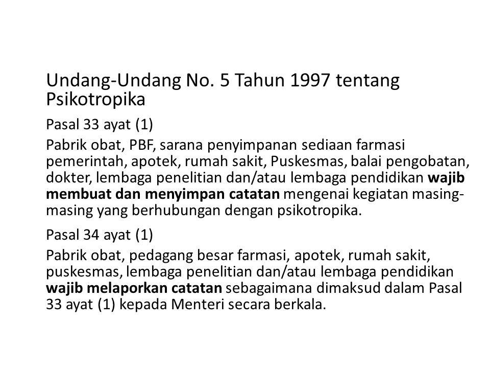 Undang-Undang No. 5 Tahun 1997 tentang Psikotropika