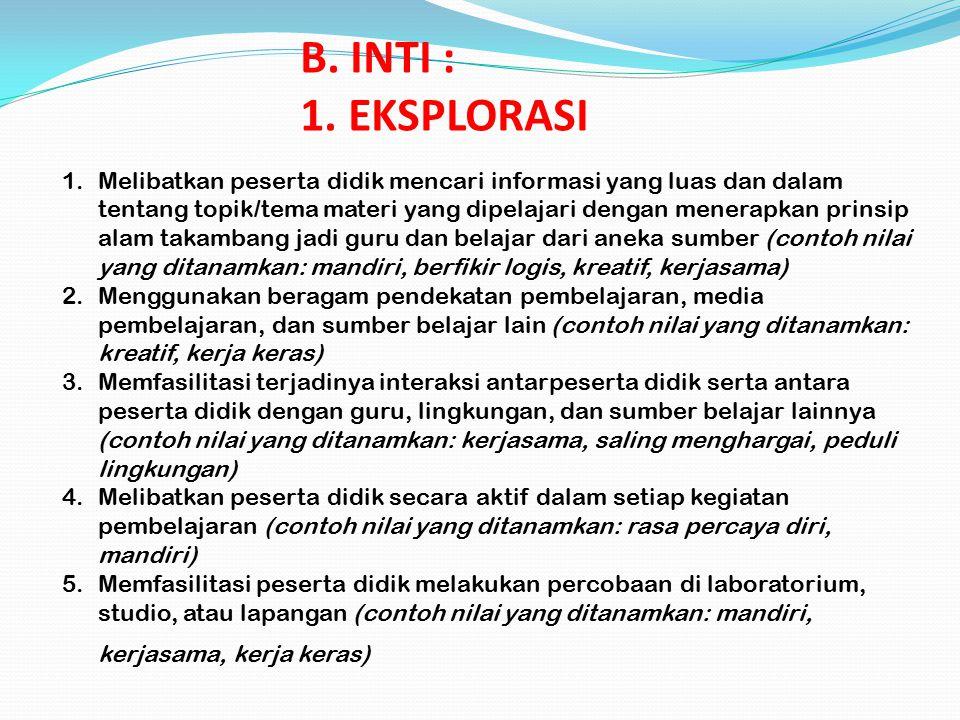 B. INTI : 1. EKSPLORASI