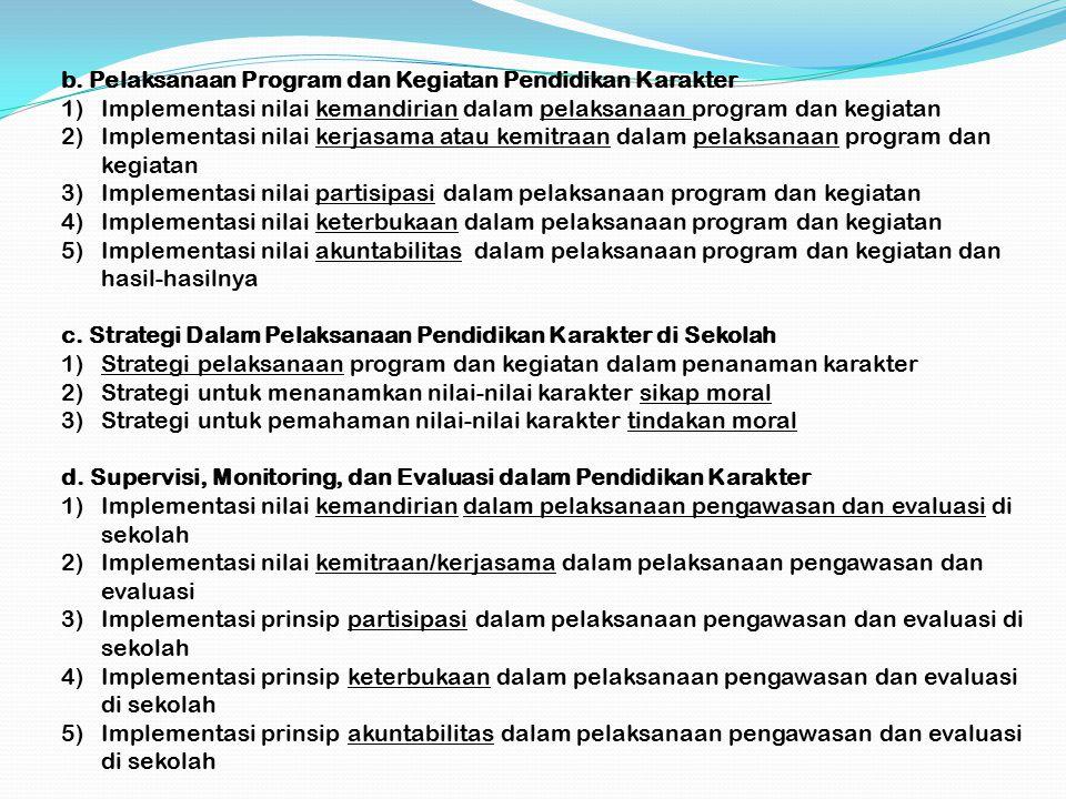 b. Pelaksanaan Program dan Kegiatan Pendidikan Karakter