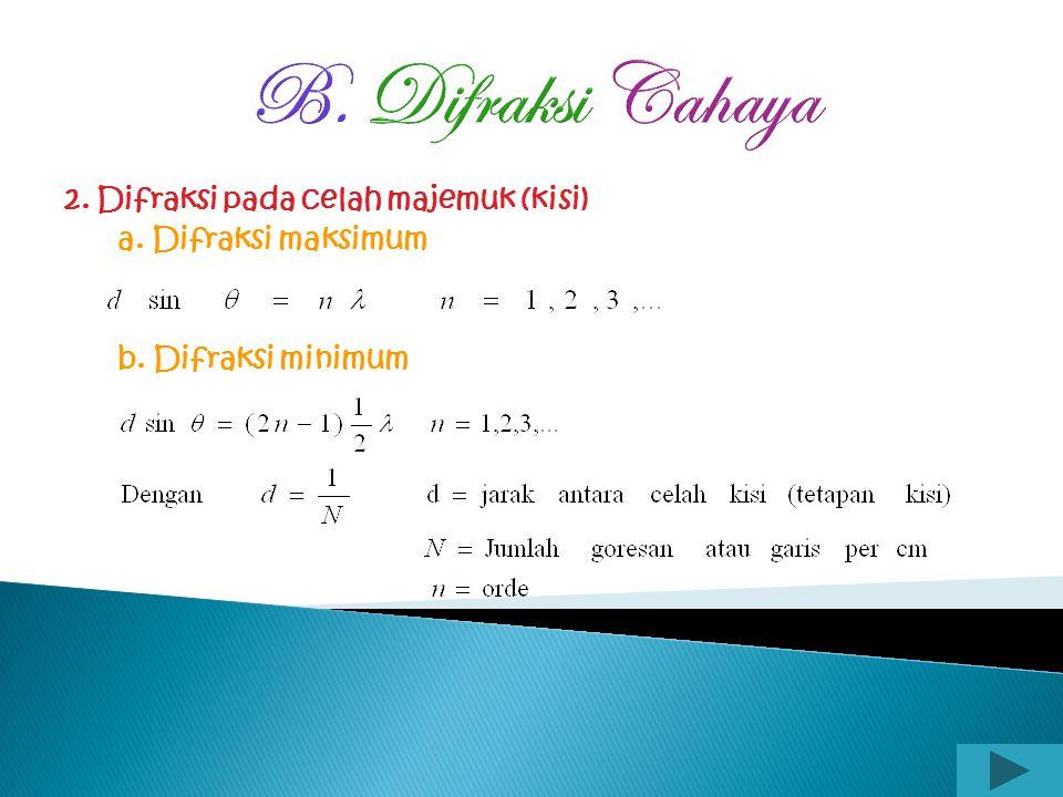 B. Difraksi Cahaya 2. Difraksi pada celah majemuk (kisi)
