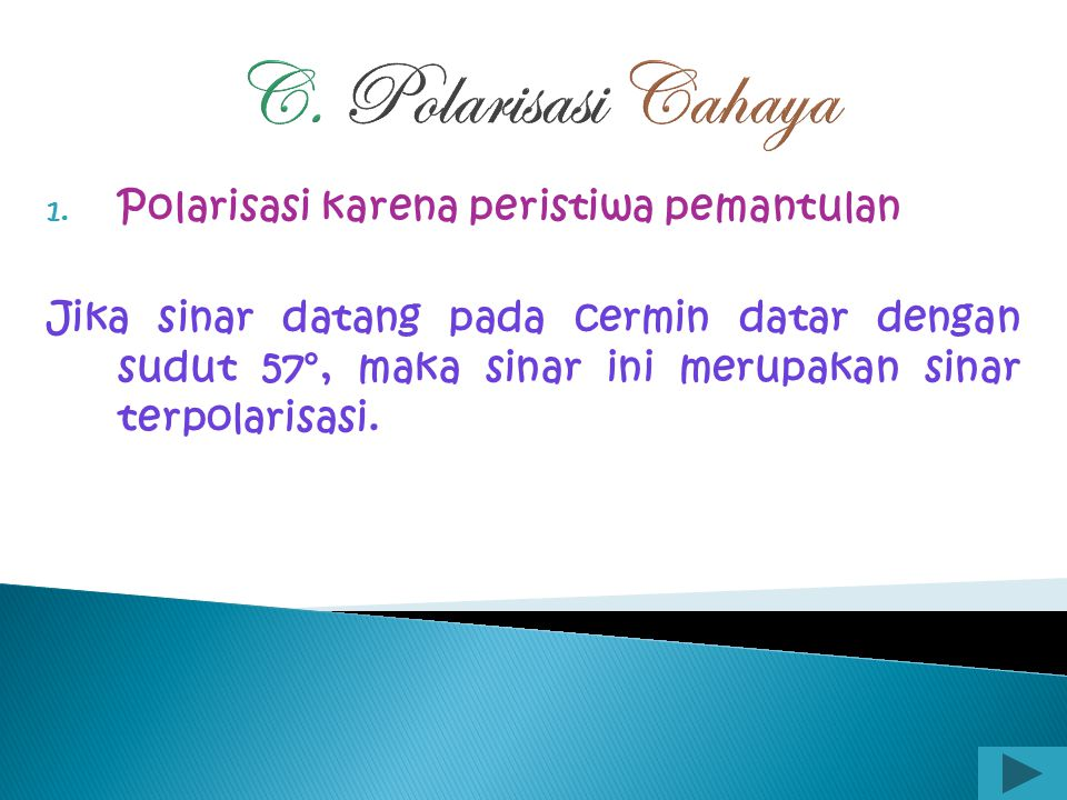 C. Polarisasi Cahaya Polarisasi karena peristiwa pemantulan