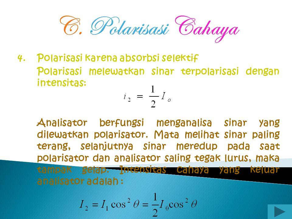 C. Polarisasi Cahaya 4. Polarisasi karena absorbsi selektif