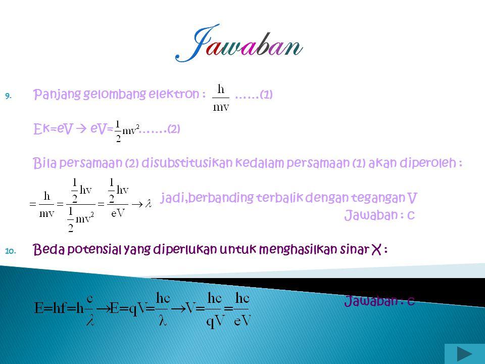 Jawaban Panjang gelombang elektron : ……(1) Ek=eV  eV= …….(2)