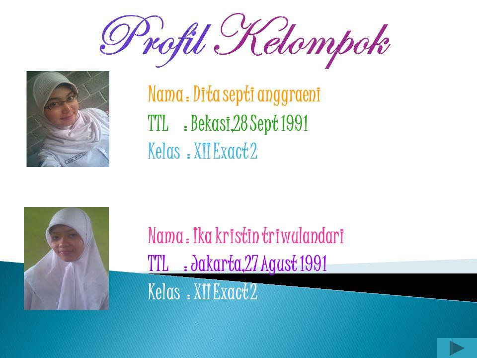Profil Kelompok TTL : Bekasi,28 Sept 1991 Kelas : XII Exact 2