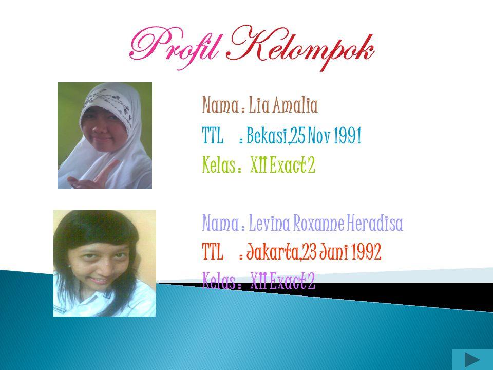 Profil Kelompok Nama : Lia Amalia TTL : Bekasi,25 Nov 1991