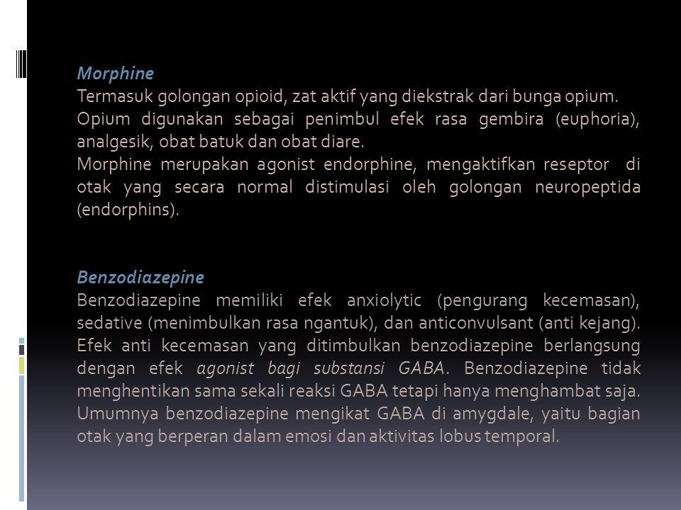 Morphine Termasuk golongan opioid, zat aktif yang diekstrak dari bunga opium.