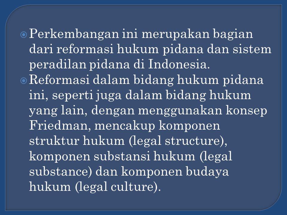 Perkembangan ini merupakan bagian dari reformasi hukum pidana dan sistem peradilan pidana di Indonesia.