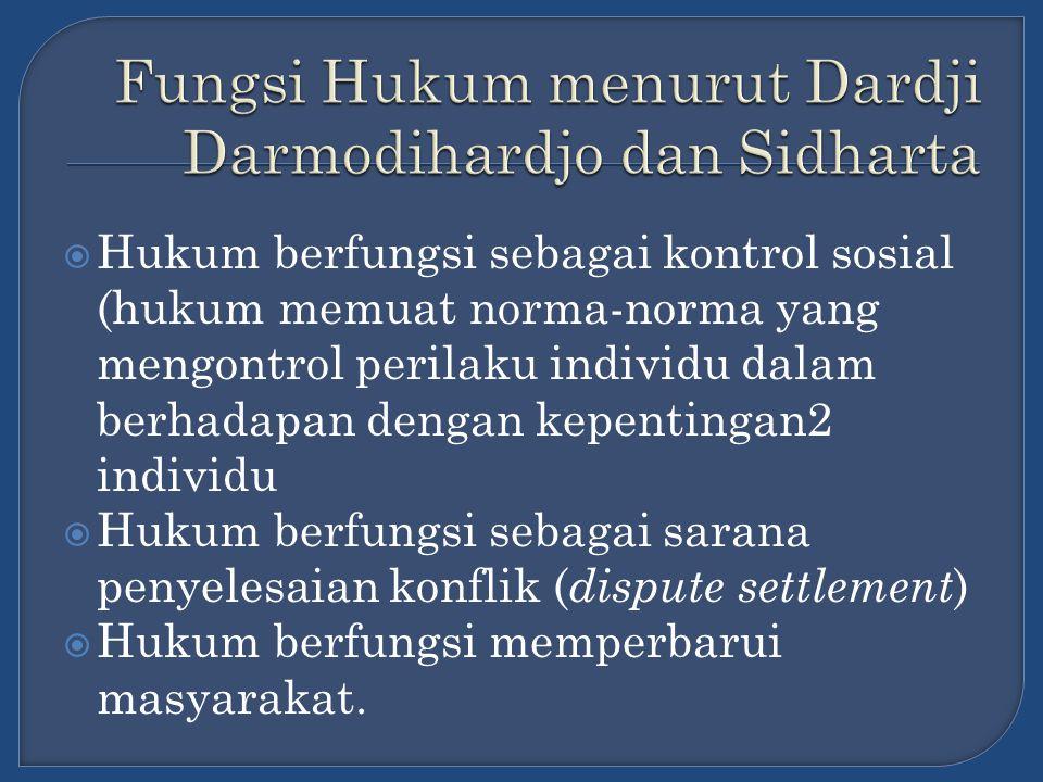 Fungsi Hukum menurut Dardji Darmodihardjo dan Sidharta