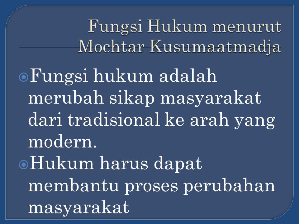 Fungsi Hukum menurut Mochtar Kusumaatmadja