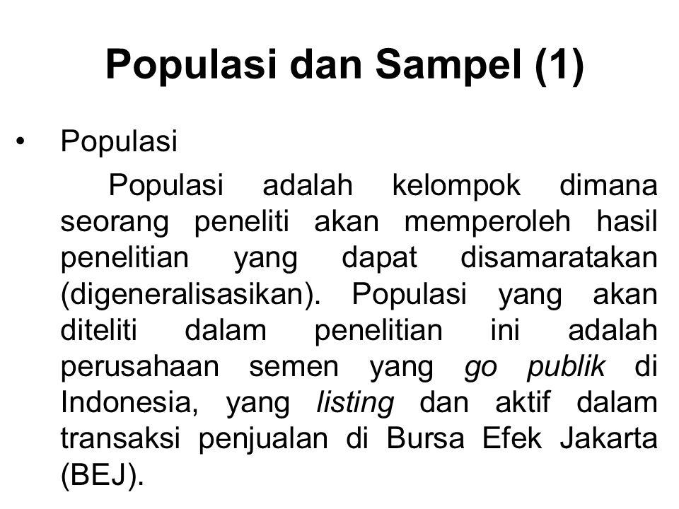 Populasi dan Sampel (1) Populasi