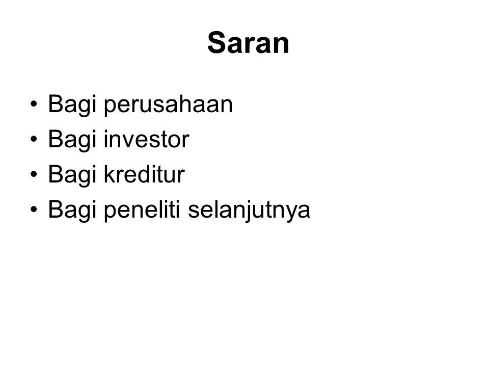 Saran Bagi perusahaan Bagi investor Bagi kreditur