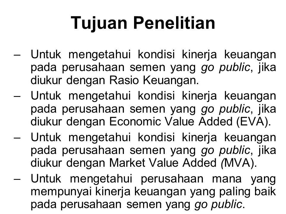 Tujuan Penelitian Untuk mengetahui kondisi kinerja keuangan pada perusahaan semen yang go public, jika diukur dengan Rasio Keuangan.