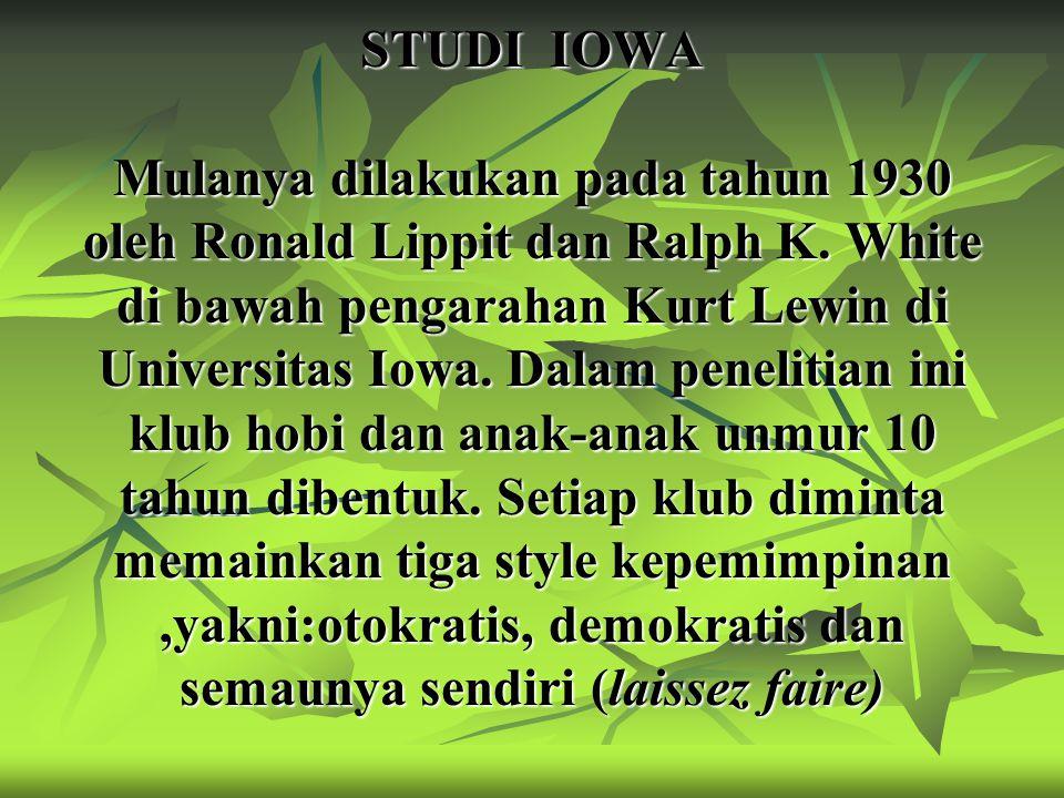 STUDI IOWA Mulanya dilakukan pada tahun 1930 oleh Ronald Lippit dan Ralph K.