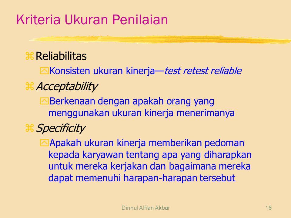 Kriteria Ukuran Penilaian