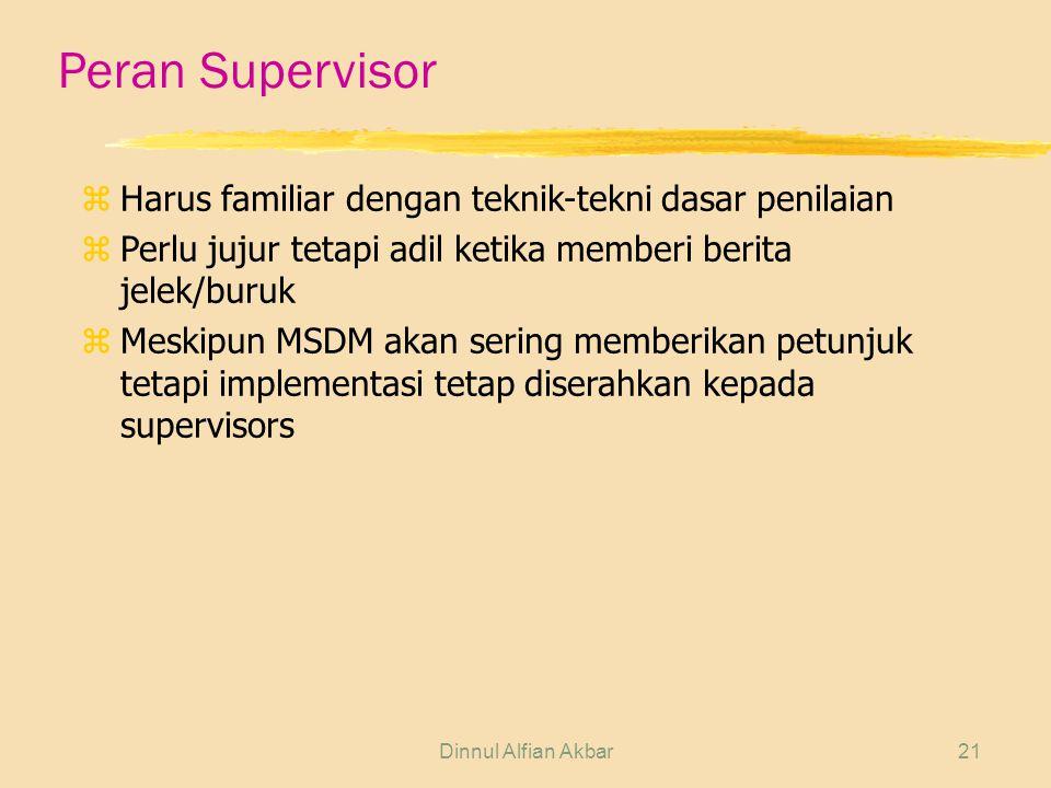 Peran Supervisor Harus familiar dengan teknik-tekni dasar penilaian