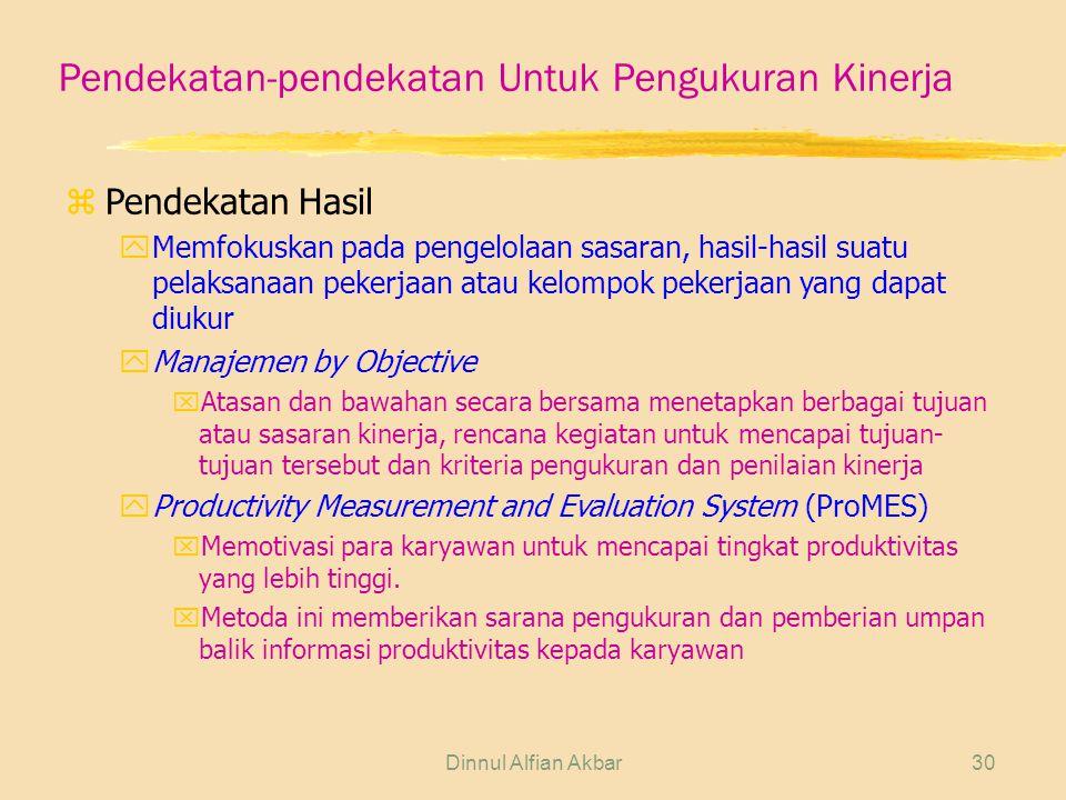 Pendekatan-pendekatan Untuk Pengukuran Kinerja