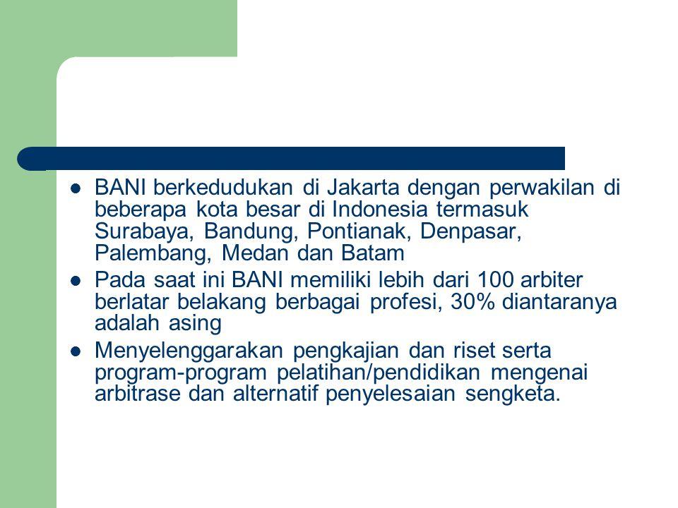 BANI berkedudukan di Jakarta dengan perwakilan di beberapa kota besar di Indonesia termasuk Surabaya, Bandung, Pontianak, Denpasar, Palembang, Medan dan Batam