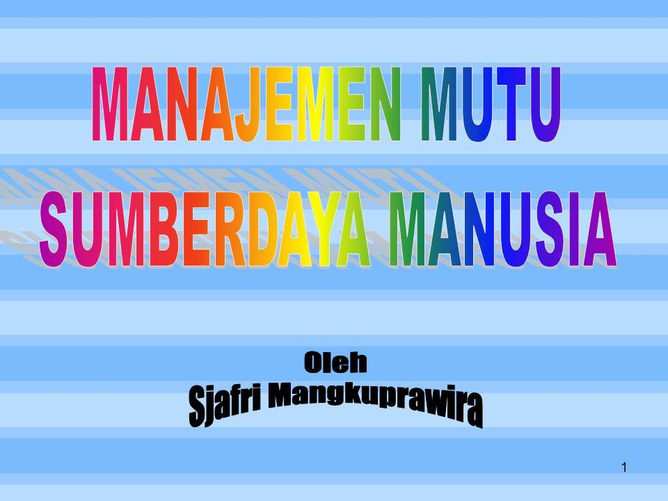 MANAJEMEN MUTU SUMBERDAYA MANUSIA Oleh Sjafri Mangkuprawira