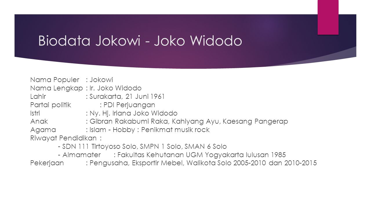 Biodata Jokowi - Joko Widodo