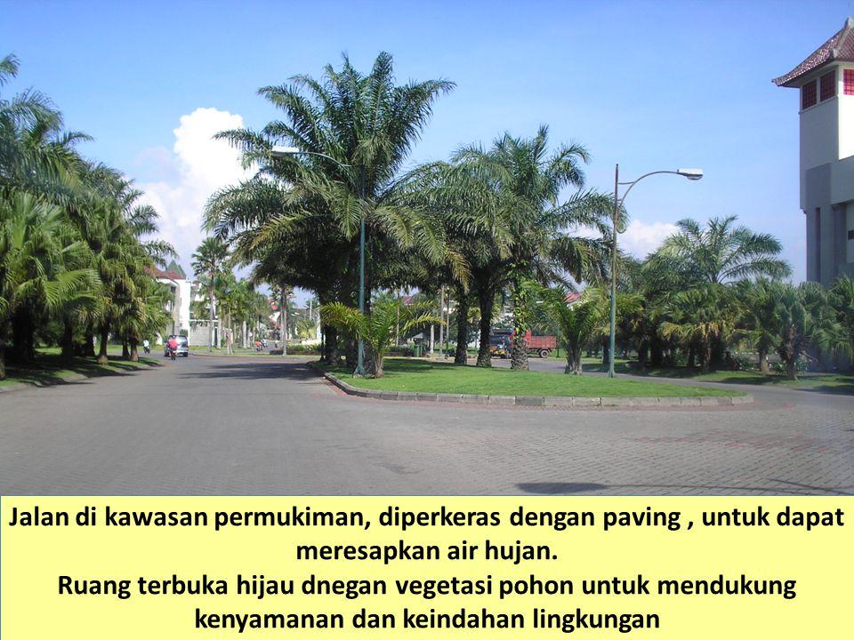 Jalan di kawasan permukiman, diperkeras dengan paving , untuk dapat meresapkan air hujan.