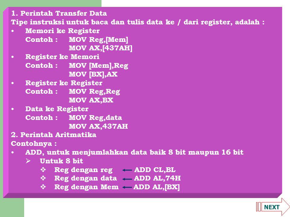 1. Perintah Transfer Data
