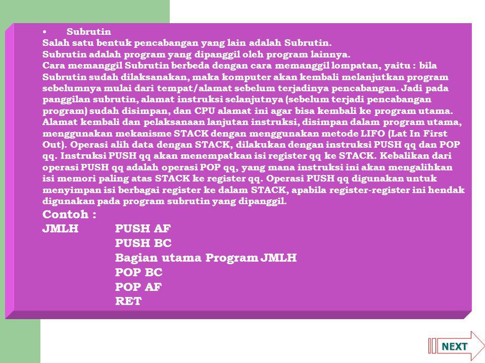Bagian utama Program JMLH POP BC POP AF RET