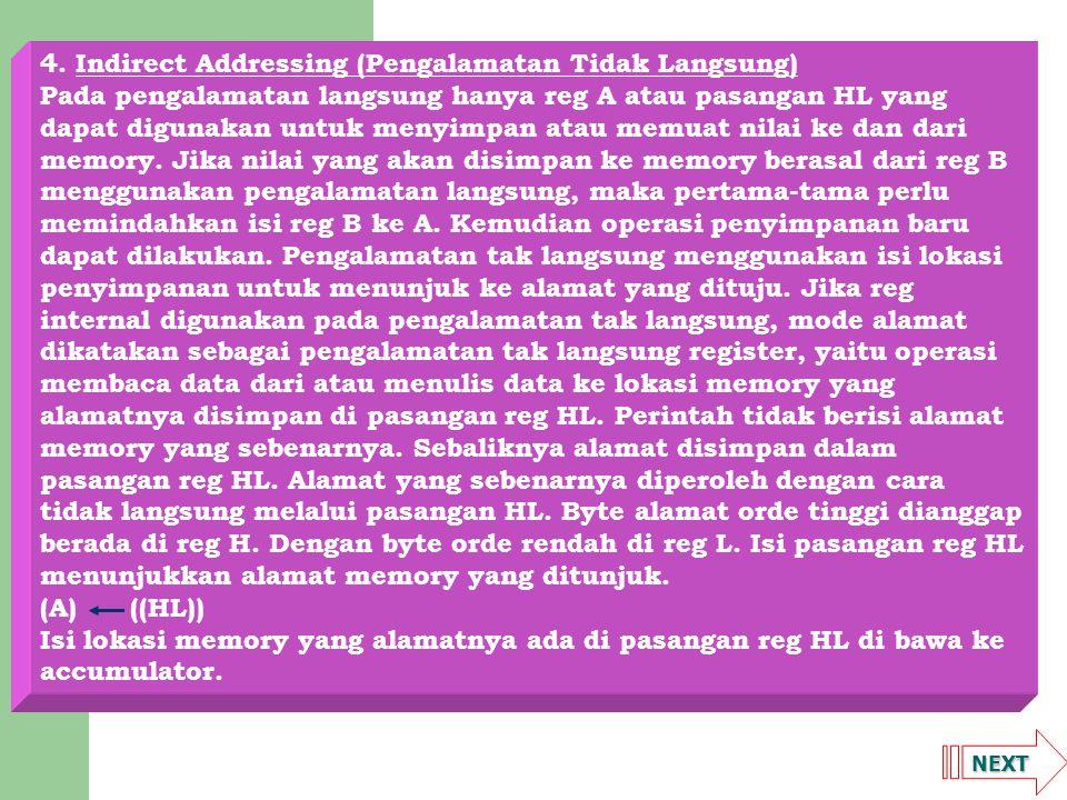 4. Indirect Addressing (Pengalamatan Tidak Langsung)