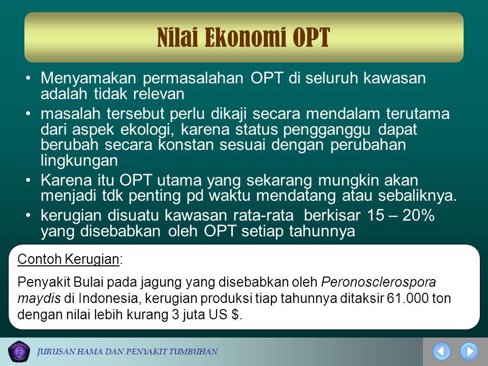 Nilai Ekonomi OPT Menyamakan permasalahan OPT di seluruh kawasan adalah tidak relevan.