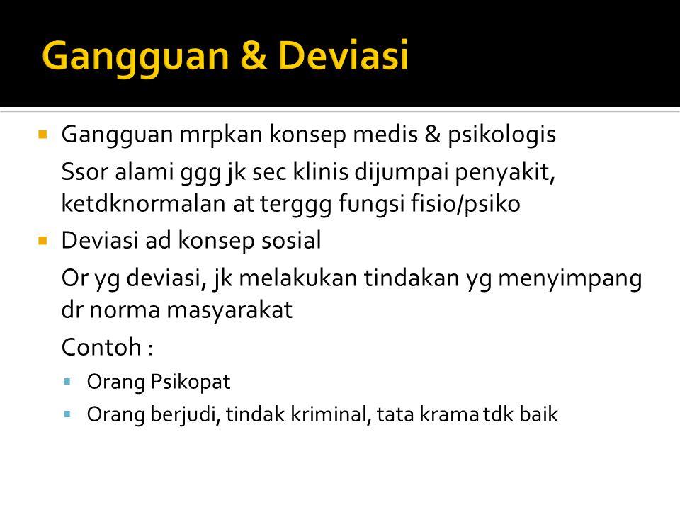 Gangguan & Deviasi Gangguan mrpkan konsep medis & psikologis