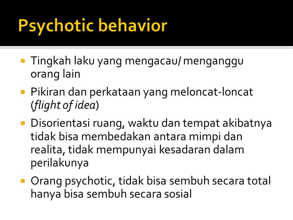 Psychotic behavior Tingkah laku yang mengacau/ menganggu orang lain