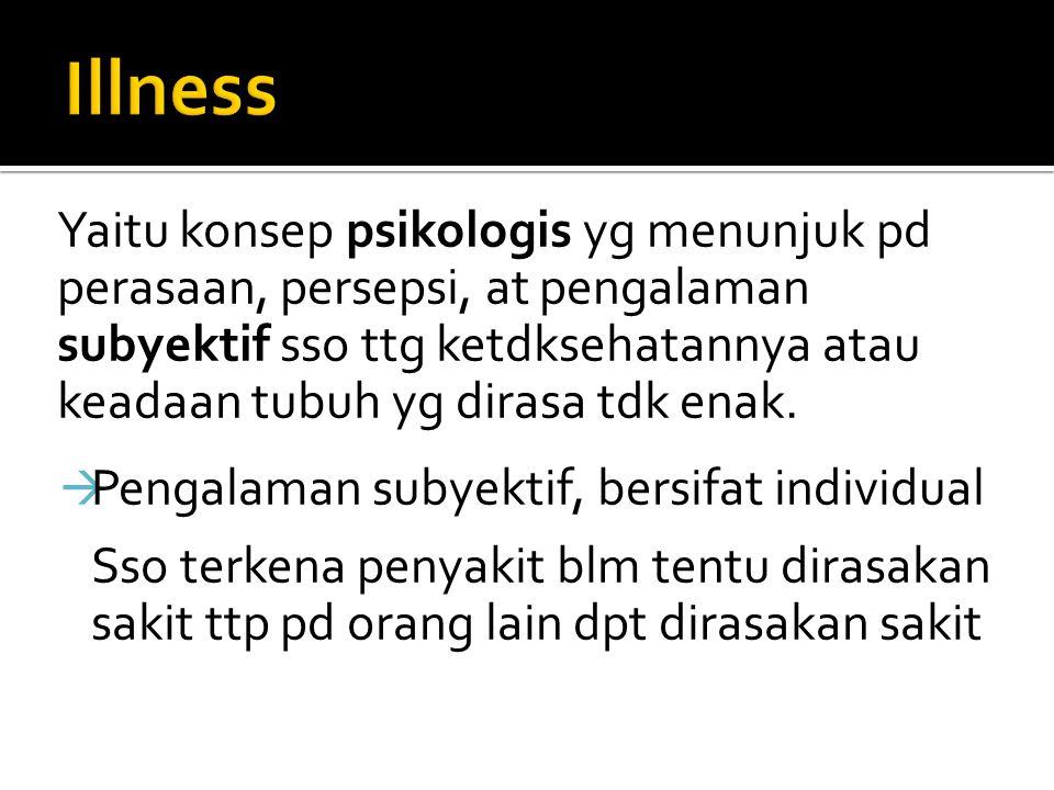 Illness Pengalaman subyektif, bersifat individual