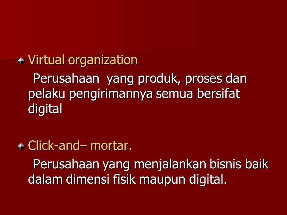 Virtual organization. Perusahaan yang produk, proses dan pelaku pengirimannya semua bersifat digital.