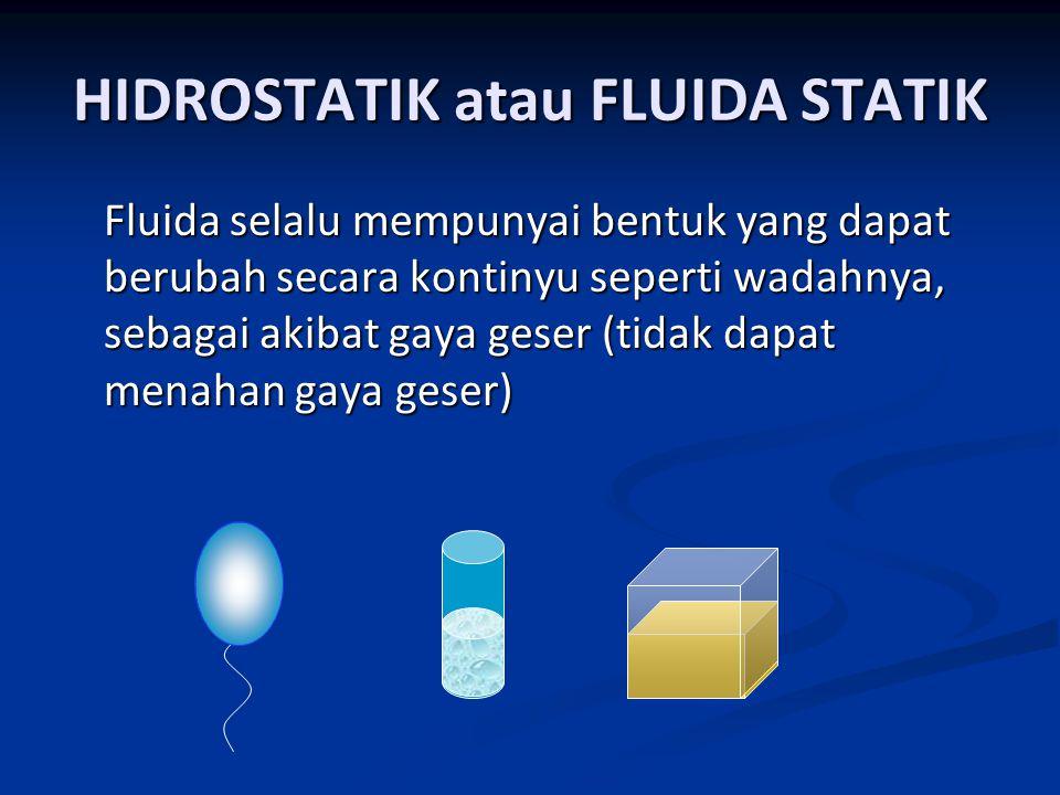 HIDROSTATIK atau FLUIDA STATIK