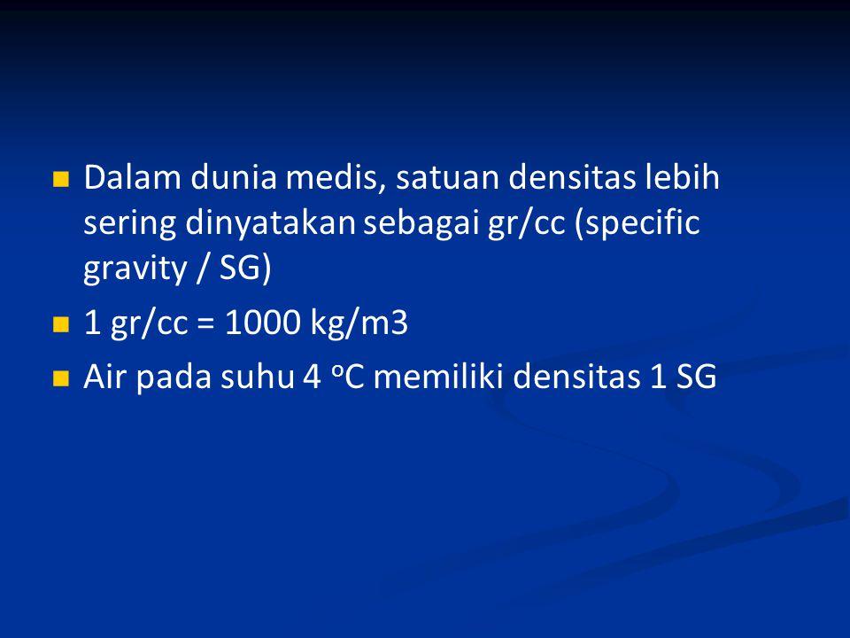 Dalam dunia medis, satuan densitas lebih sering dinyatakan sebagai gr/cc (specific gravity / SG)
