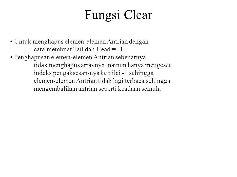Fungsi Clear • Untuk menghapus elemen-elemen Antrian dengan