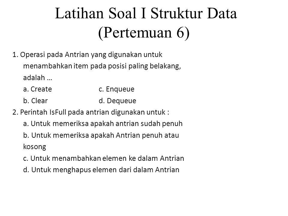 Latihan Soal I Struktur Data (Pertemuan 6)