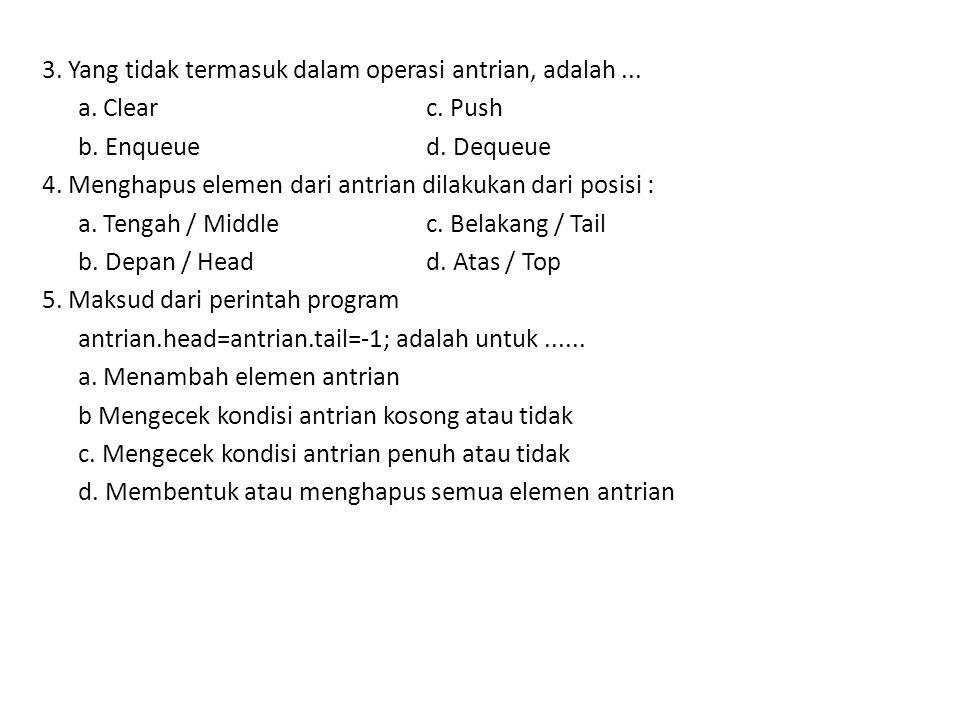 3. Yang tidak termasuk dalam operasi antrian, adalah. a. Clear c