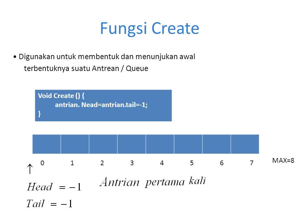 Fungsi Create • Digunakan untuk membentuk dan menunjukan awal terbentuknya suatu Antrean / Queue Void Create () {