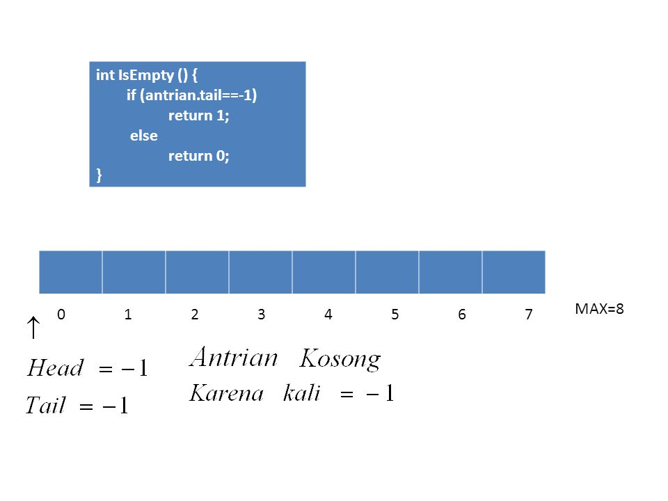 int IsEmpty () { if (antrian.tail==-1) return 1; else return 0; } MAX=8 0 1 2 3 4 5 6 7
