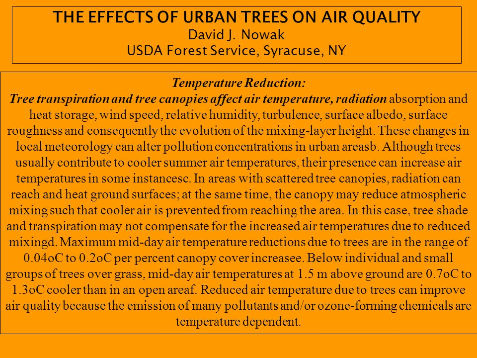 THE EFFECTS OF URBAN TREES ON AIR QUALITY Temperature Reduction: