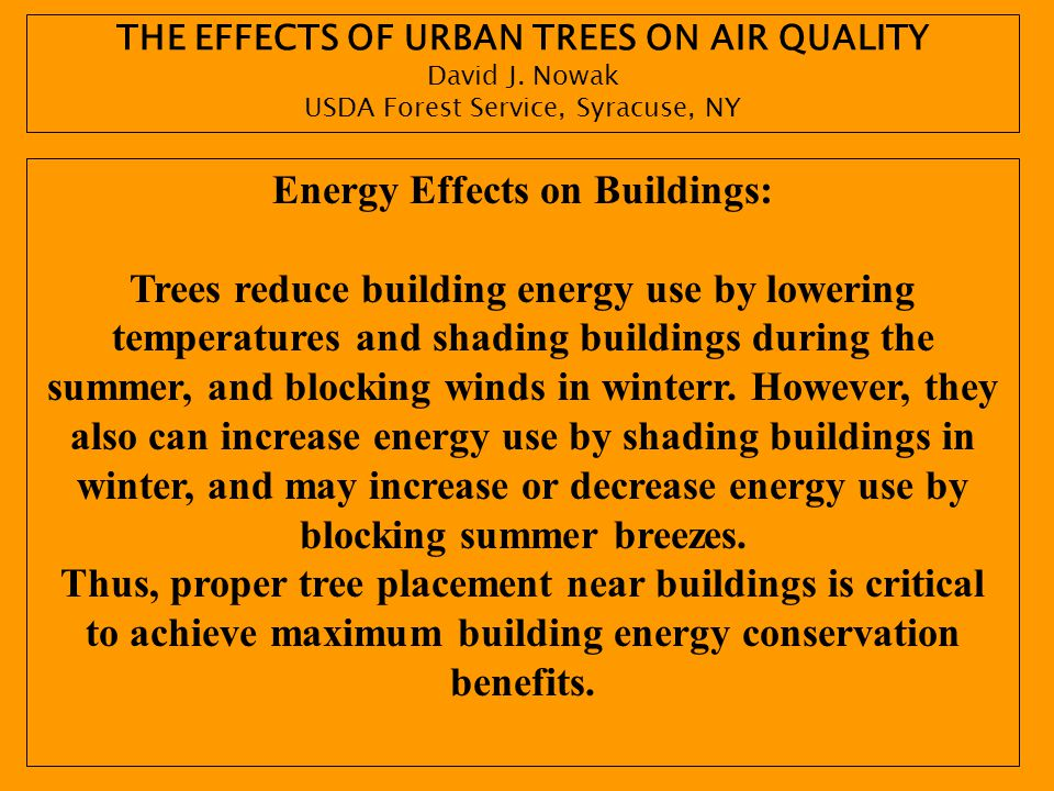 THE EFFECTS OF URBAN TREES ON AIR QUALITY Energy Effects on Buildings: