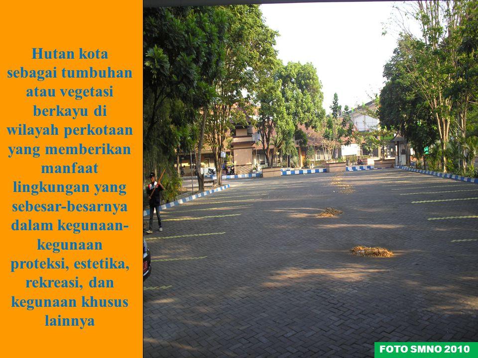 Hutan kota sebagai tumbuhan atau vegetasi berkayu di wilayah perkotaan yang memberikan manfaat lingkungan yang sebesar-besarnya dalam kegunaan-kegunaan proteksi, estetika, rekreasi, dan kegunaan khusus lainnya