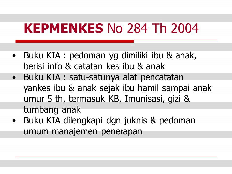 KEPMENKES No 284 Th 2004 Buku KIA : pedoman yg dimiliki ibu & anak, berisi info & catatan kes ibu & anak.